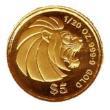 Лев — Сингапур — золотая монета
