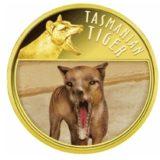 Тасманийский тигр — Ниуэ — 2011 — позолоченная монета с голограммой
