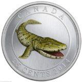 Доисторические создания — Тиктаалик — 2014 — Канада — монета с эффектом флюоресценции