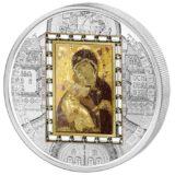 Шедевры мирового искусства — Владимирская икона — Острова Кука — 2013 — серебряная монета с золотом и 26 кристаллами