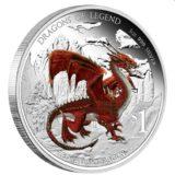Драконы из легенд: Уэльский красный дракон — Тувалу — 2012 — серебряная монета