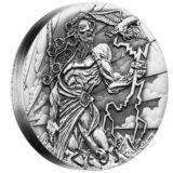 Боги Олимпа — Зевс — Тувалу — 2014 — серебряная монета с высоким рельефом без гурта