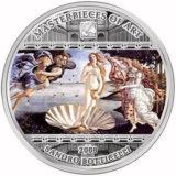 Шедевры мирового искусства — Рождение Венеры (Сандро Боттичелли) — Острова Кука — серебряная монета
