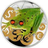 Денежная лягушка: монета, приносящая богатство — Ниуэ — серебряная монета с вставками янтаря