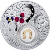 Символы удачи: подкова — Ниуэ — 2014 — серебряная монета с золотом
