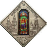 Святые окна: Сантьягский собор в Сантьяго-де-Компостелла — Палау — 2011 — серебряная монета с витражным стеклом