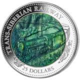 Транссибирская магистраль — Острова Кука — 2016 — серебряная монета (5 унций) с перламутром