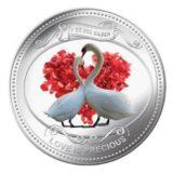 Любовь бесценна (два белых лебедя) — Ниуэ — серебряная монета