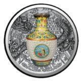 Ваза императорской династии Цин — Ниуэ — 2016 — серебряная монета с фарфоровой вазой