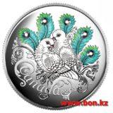 Ода любви: два голубя — Канада — 2016 — серебряная монета с кристаллами Сваровски