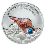 Жемчужина Чудеса моря — 2016 — Палау — серебряная монета с жемчужиной