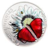 Бабочка Красный Планер Хобарта (Cymothoe hobarti) — Танзания — серебряная монета с трехмерной бабочкой внутри