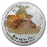 Год крысы (мыши) — 2008 — Австралия — серебряная монета с тампопечатью