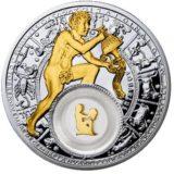 Знаки Зодиака — Водолей — серебряная монета с золотом