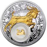 Знаки Зодиака — Козерог — серебряная монета с золотом