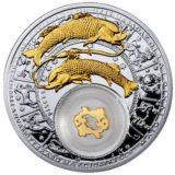 Знаки Зодиака — Рыбы — серебряная монета с золотом