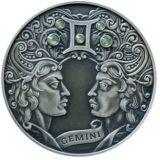 Зодиакальный гороскоп — Близнецы — серебряная монета с кристаллами Сваровски