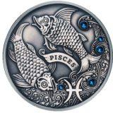 Зодиакальный гороскоп — Рыбы — серебряная монета с кристаллами Сваровски
