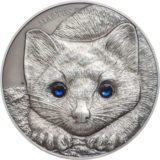 Центральноазиатский соболь — 2017 — Монголия — серебряная монета с кристаллами