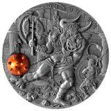 Древние мифы: Минотавр — Ниуэ — 2017 — трехмерная серебряная монета с латунной вставкой