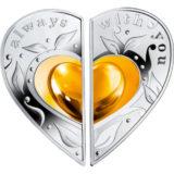 Всегда с тобой (Вместе навсегда) — Ниуэ — 2016 — набор из 2 серебряных монет в форме сердца